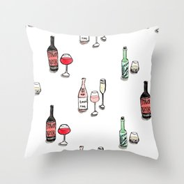 #DrinkWineDay Pattern Throw Pillow