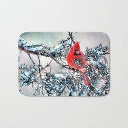 Valentine's Day Blizzard Cardinal Bath Mat