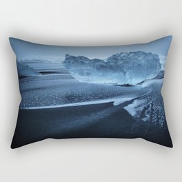 Sveitarfélagið Hornafjörðu,  Blue Ice at the Black Sand Beach, Glacier Lagoon, Iceland Rectangular Pillow