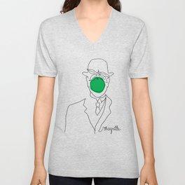 Magritte's Son of Man  Unisex V-Neck