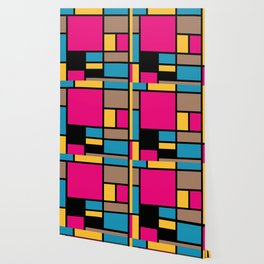 Mondrian style modern cool colors 1 Wallpaper