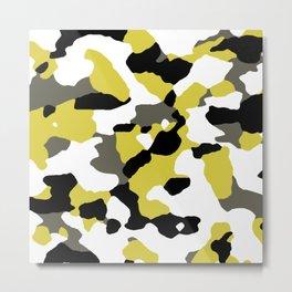 Abstract Pattern: Black & Gold Metal Print