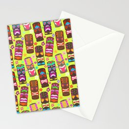 Retro Tiki Mask Luau in Lime Green Stationery Cards