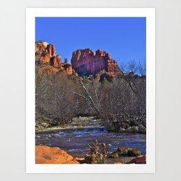 red rock stream Art Print
