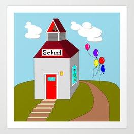 An Ole School House with Balloons Art Print