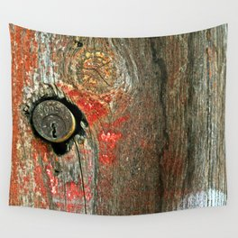 Weathered Wood Texture with Keyhole Wall Tapestry