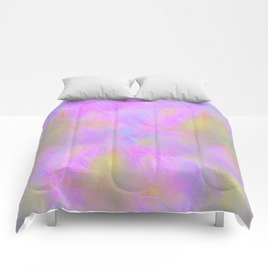 Bright Pastel Feathered Abstract Comforters
