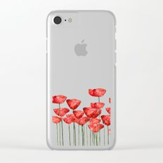 Poppyfield poppies poppy blue sky- watercolor artwork Clear iPhone Case