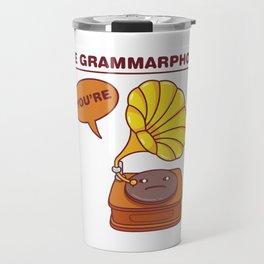 The Grammarphone - Funny Gramophone Wordplay Travel Mug