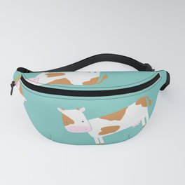 Brown Cow – Mint Green Background Fanny Pack