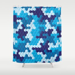 CUBOUFLAGE BLUE Shower Curtain