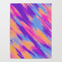 purple blue orange and pink drawing and painting abstract background Poster