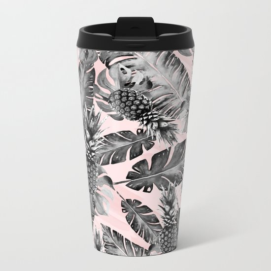 Leaves and pineapples pattern Metal Travel Mug