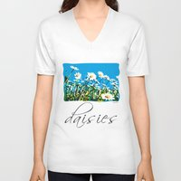 daisies V-neck T-shirts featuring Daisies by Valter Minelli