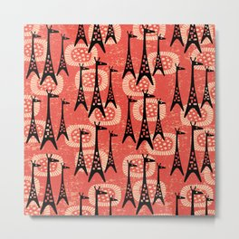Mid Century Modern Giraffe Pattern Black and Red Metal Print