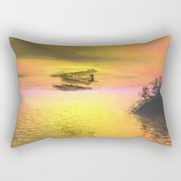 Seaplane Flight at Sunset Rectangular Pillow