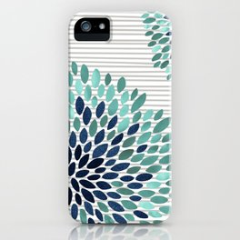 Blooms and Stripes, Aqua and Navy iPhone Case