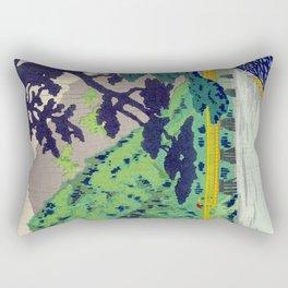 Tokuriki Tomikichiro 1980s Arashiyama Japanese Woodblock Print Asian Historical Rectangular Pillow