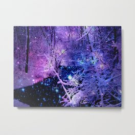 Cosmic River Galaxy Forest Metal Print