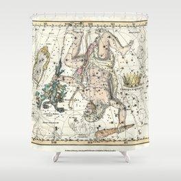 Constellations Hercules, Lyra, Corona Borealis, Celestial Atlas Plate 8, Alexander Jamieson Shower Curtain