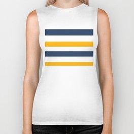 Yellow - blue - white stripes Biker Tank
