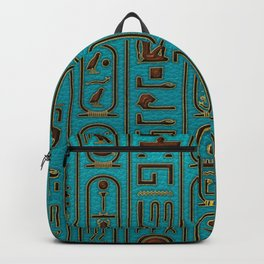 Egyptian Golden Leather hieroglyphs embossed on teal Rucksack