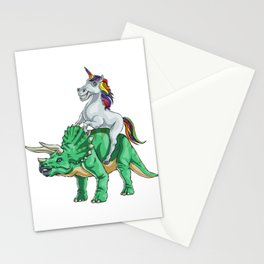 Unicorn and Tricerotops Stationery Cards