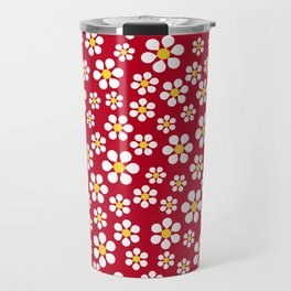 Dizzy Daisies - Red Travel Mug