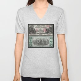 1875 Series U.S. Federal Reserve Five Dollar Bank of Deadwood - Christopher Columbus in Sight of Lan Unisex V-Neck