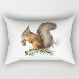 Festive, Watercolor, Woodland Squirrel Rectangular Pillow
