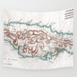 Vintage Map of Jamaica (1780) 2 Wall Tapestry