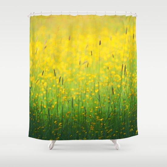 Field Green Yellow Shower Curtain By Sebastien BOUVIER