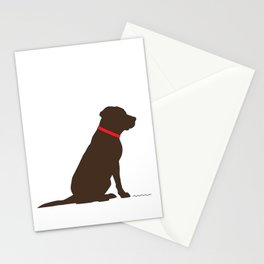 Modern Chocolate Lab Silhouette Stationery Cards