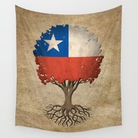 chile Wall Tapestries featuring Vintage Tree of Life with Flag of Chile by Jeff Bartels