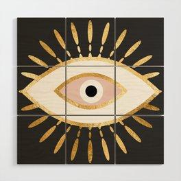 gold foil evil eye in blush Wood Wall Art
