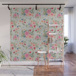 Embroidered Flowers - Light Wall Mural