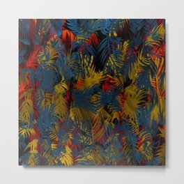 Rich Blue, Red, Yellow Repeating Palm Tree  Metal Print