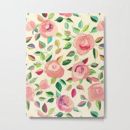 Pastel Roses in Blush Pink and Cream  Metal Print