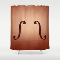 violin Shower Curtains featuring Violin by Mtt Creative
