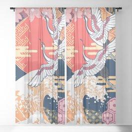 Moon and Crane Sheer Curtain