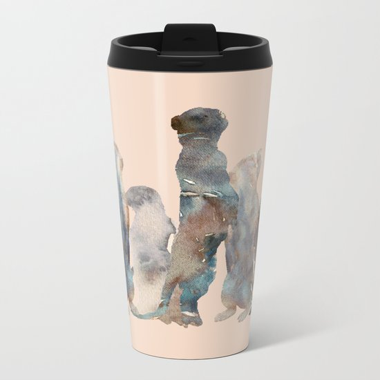 Meerkats Meeting Metal Travel Mug