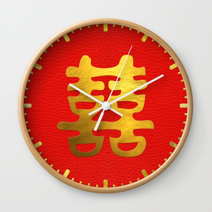 Double Happiness Feng Shui Symbol Wall Clock By K9printart Society6