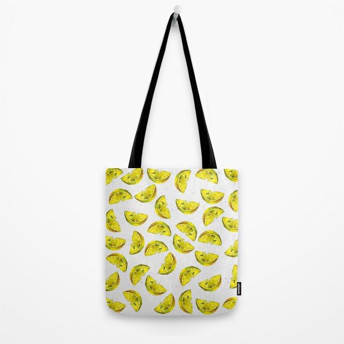 Lemon Slices Pattern White Tote Bag
