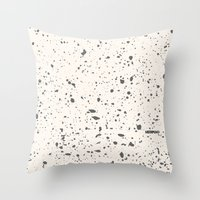 Retro Speckle Print - Bone Throw Pillow