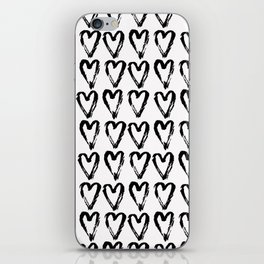 Black & White-Love Heart Pattern-Mix & Match with Simplicty of life iPhone Skin