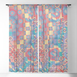 retro psychedelic Sheer Curtain
