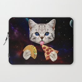 Space Cat with taco and pizza Laptop Sleeve