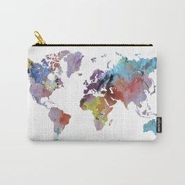 Watercolor world map | Rainbow map | Geography print Carry-All Pouch