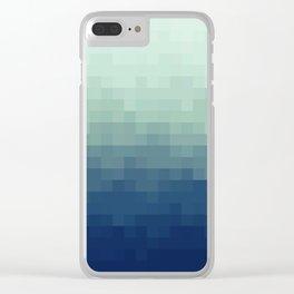 Gradient Pixel Aqua Clear iPhone Case