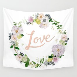 Love Pink Flower Wreath Wall Tapestry